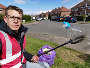 Giles Stokes litter picking in Hereford